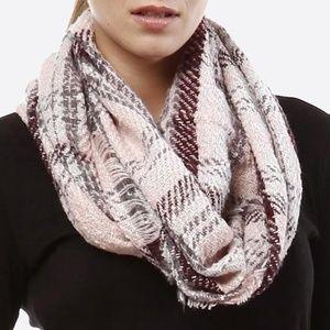 Plaid infinity scarf.